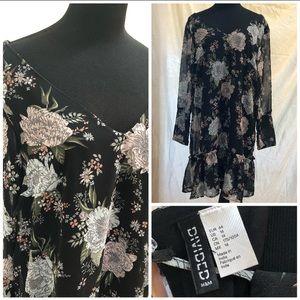 H&M Floral Chiffon lined Swing Dress • Sz 14